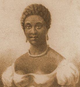 An etching of a black woman with short hair and pearls: American literature