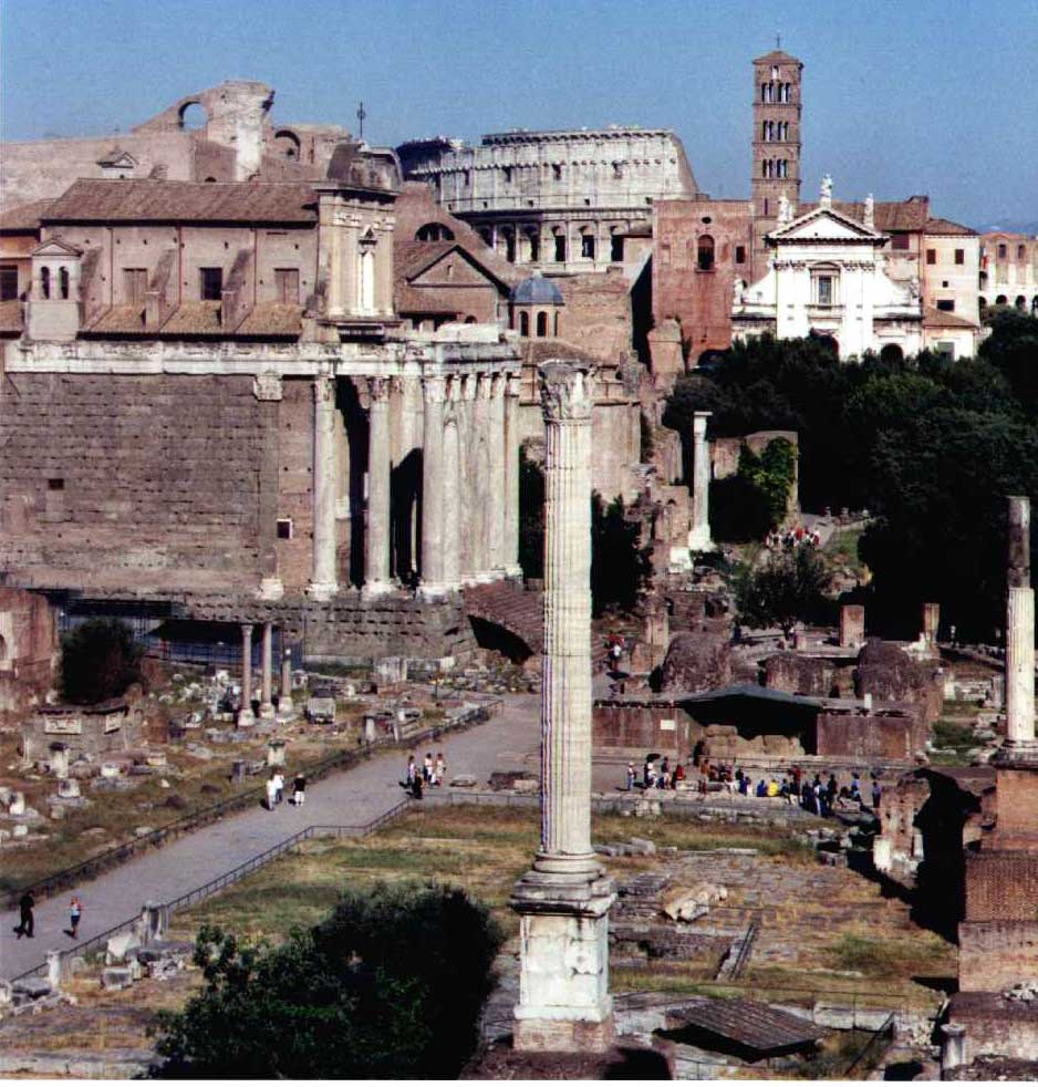 Phocas' column, the last imperial monument to be erected in the Forum at Rome before the Forum was abandoned after an earthquake. It originally had a statue of Phocas on top of the column, but that's gone now.