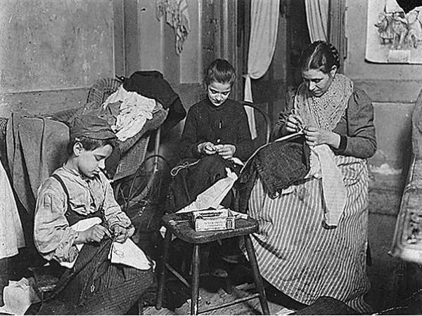 A family doing piecework sewing (Britain, 1800s)