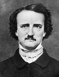 Edgar Allan Poe: a white man with a dark expression and a white collar