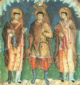 Popes Gelasius and Gregory, on either side of Charlemagne, from a manuscript of the time of Charles the Bald
