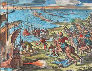 The Portuguese force Islamic traders to give them access to the Indian port of Goa (1500s AD, Theodore De Bry)