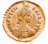 The Roman empress Pulcheria on a gold coin