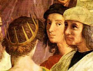 Raphael's selfie (in the School of Athens painting)