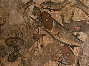 Egyptian soldiers drowning (Roman synagogue mosaic, Huqoq)