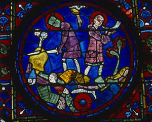 Roland blows his horn for help (Chartres Cathedral)