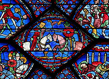 Roland jousting (Chartres Cathedral, France, 1200s AD)