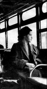 Rosa Parks: a black woman sitting on a bus