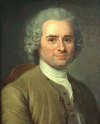 Rousseau: a white man with gray curly hair pulled back in a pigtail, wearing a white shirt and a brown jacket and smiling faintly