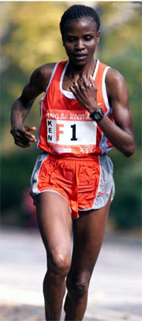 A black woman running