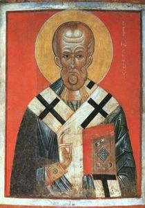 Painting of an old white man with a beard and church robes and a halo: Icon of St. Nicholas (Russia) - Byzantine iconoclasm