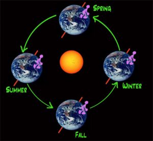 A graphic showing the earth going around the sun on its tilted axis