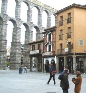 A Roman aqueduct at Segovia, in eastern Spain