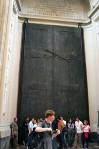 The Senate house also had great big bronze doors on it. (One of the Popes moved those doors to a Christian church in Rome, but they're still the same doors).