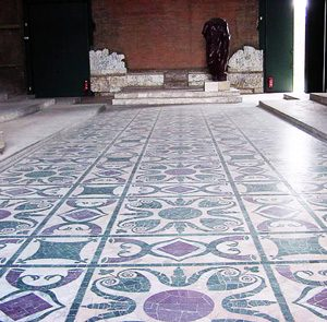 The patterned marble floor of the Roman Senate's meeting room
