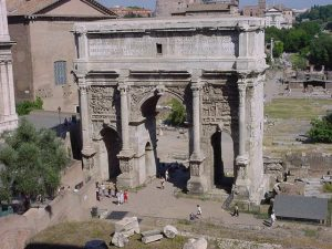 Arch of Septimius Severus. You can see the Roman Senate in the background.
