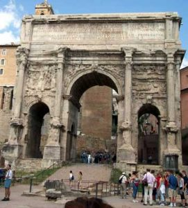 Arch of Septimius Severus, in the Roman Forum near the Senate House