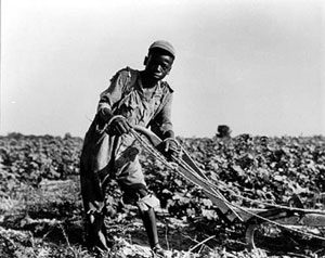A 13-year-old black boy in a field with a plow - Reconstruction