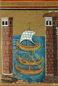 a mosaic of Roman trading ships - Roman trade was important to the economy