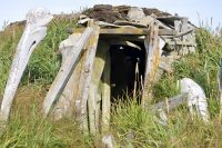 Inuit whalebone house at Tikigaq, in Alaska