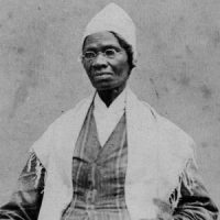Sojourner Truth: An older black woman in a white cap and shawl