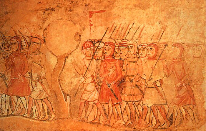 James I of Aragon's Knights Marching to Fight the Moors, fresco, 13th century.