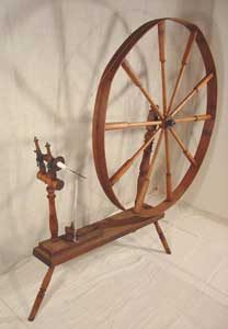 A wooden spinning wheel