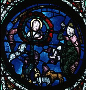 Moses talking to God in the burning bush, from the church of St. Denis, about 1140 AD