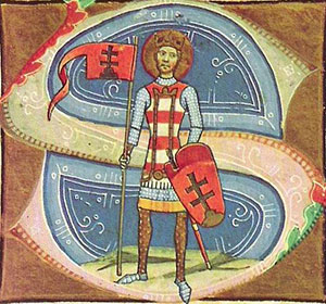 A manuscript initial letter S with a white man in armor with a halo and a flag - Medieval Hungary