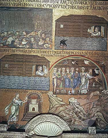 The rain falling on the drowning people/ Noah lets go a dove to see if the waters have gone down/ He sends out the dove again/He lets the animals off the boat/ Noah sacrifices to God on an altar (Mosaic from St. Marks, Venice, 1200s AD)