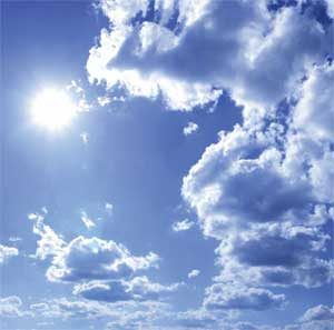 Sunshine through the clouds and Earth's atmosphere