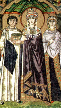 Mosaic of a white woman dripping with pearls, with a crown and a halo, backed by a woman and a eunuch - Justinian - Byzantine