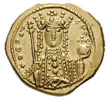 Empress Theodora, Zoe's sister, on a gold coin