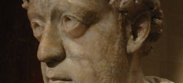 Theodosius I: a marble carving of a beardless white man