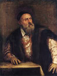 Titian's self-portrait of himself in old age: a white man with a bushy long white beard