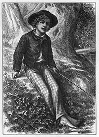 Tom Sawyer: drawing of a boy sitting on a river bank with a fishing pole