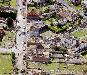 A tornado wrecked a town in northern France