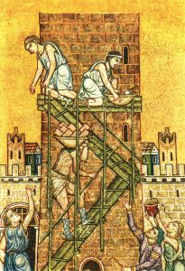 Another Tower of Babel scene, from St. Marks Basilica in Venice (1000s AD)