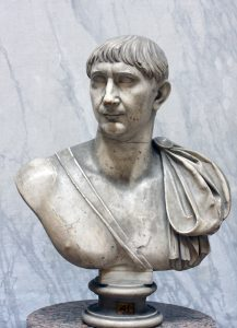 Trajan: a white man with straight hair and no beard