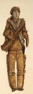 Native American doll of a Europeantrapper wearing deerskin (about 1850)