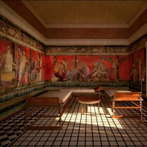 A reconstruction of the Triclinium in the Villa of the Mysteries in Pompeii by James Stanton