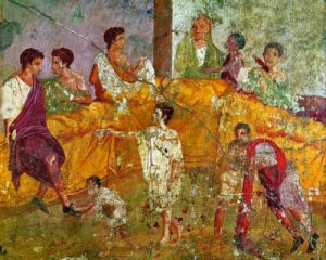 Afrescopainting of a triclinium, from Pompeii (now in theNaples Archaeological Museum)