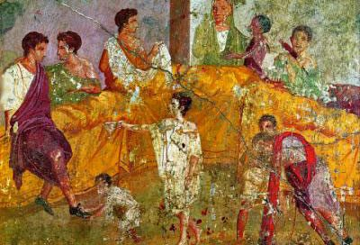 A fresco painting of a triclinium, from Pompeii (now in the Naples Archaeological Museum)