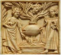 Tristan and Isolde, and theking spying on them from the tree(Frenchivorycarving,1200s AD)