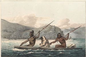 Ohlone people crossing San Francisco Bay, with a European wool blanket (Louis Choris, 1816 AD)