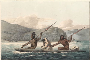 Ohlone people crossing San Francisco Bay, with a European wool blanket (Louis Choris, 1816 AD)