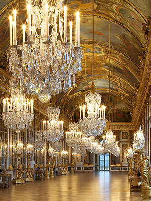 The Hall of Mirrors at Versailles, where they held the big parties
