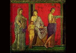 Second Style Roman wall painting (with people and scenes). From Pompeii's Villa of the Mysteries.