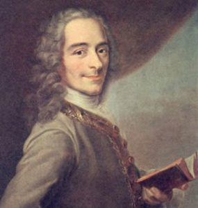 Voltaire - a thin white man with a long nose and a cheerful, sharp expression, holding a book