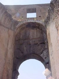 Vomitorium in the Colosseum in Rome(The roof has fallen in.)
